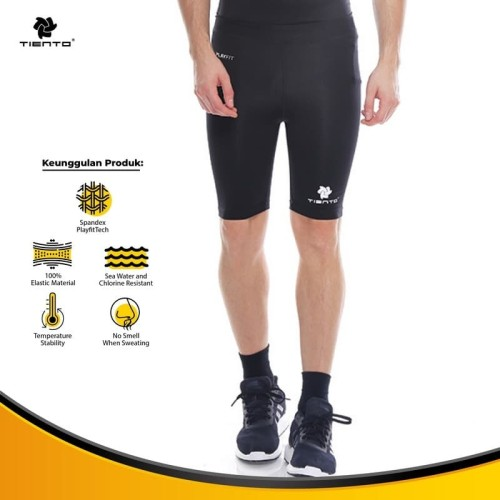 Foto Produk Baselayer Manset Tiento Short Pants Black White Original dari TIENTO