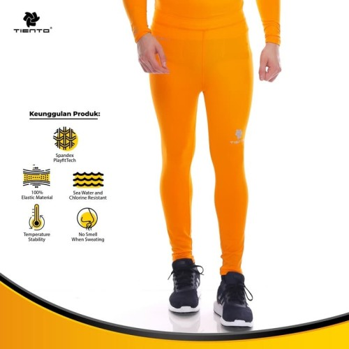 Foto Produk Tiento Baselayer Manset Rashguard Compression Long Pants Orange Ori - Orange, M dari TIENTO