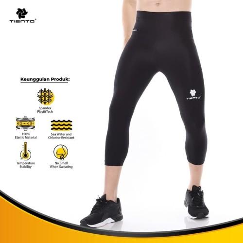Foto Produk Tiento Baselayer Celana Ketat Legging Leging 3/4 Pants Black White Ori - XS dari TIENTO