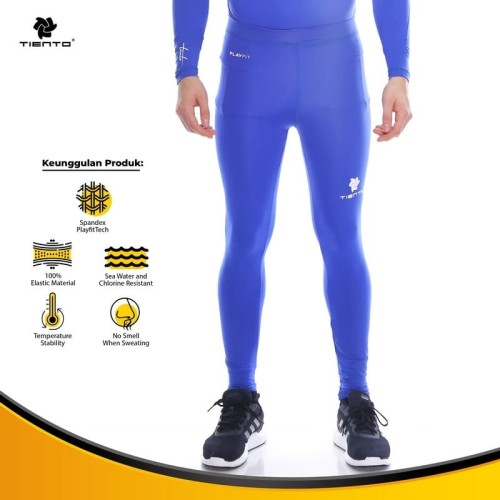 Foto Produk Baselayer Manset Tiento Long Pants Benhur White Original - Biru, XS dari TIENTO