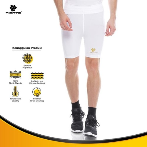 Foto Produk Tiento Baselayer Manset Rashguard Compression Short Pants white Gold - Putih, L dari TIENTO