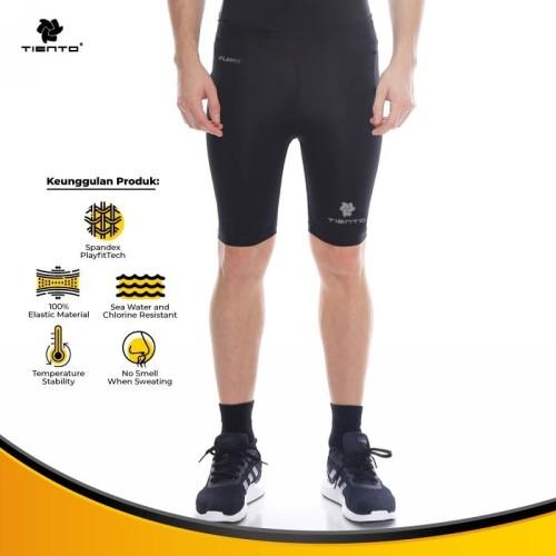 Foto Produk Baselayer Manset Tiento Short Pants Black Silver Original - Hitam, 3XL dari TIENTO