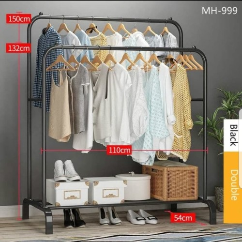 Foto Produk Gantungan Pakaian Double Rak Pakaian Clothes Hanger MH999 - Hitam dari eLocalStore Jakarta