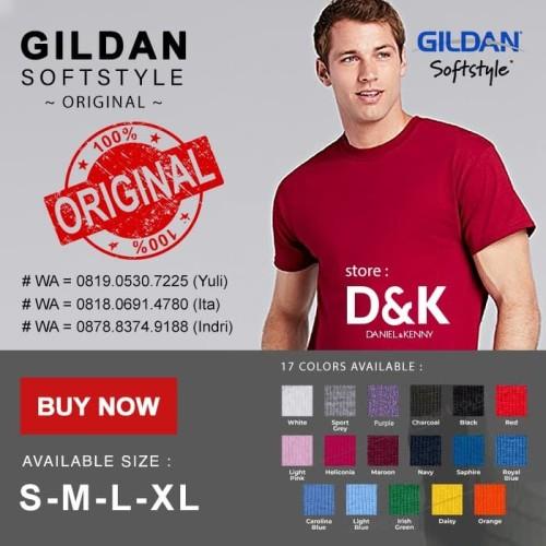 Foto Produk Kaos Gildan Softstyle 63000 Original ( S M L XL ) - BLACK, S dari Gildan Softstyle Original
