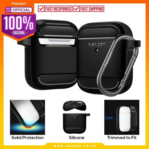 Foto Produk Case Airpods 2/1 Spigen Rugged Armor Carbon Fiber Softcase Slim Casing dari Spigen Official