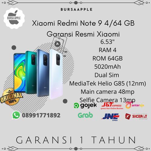 Foto Produk (READY) Xiaomi Redmi Note 9 4/64 RAM 4GB ROM 64GB Garansi Resmi Xiaomi - Abu-abu dari BursaApple