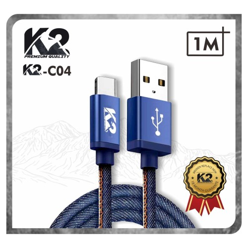 Foto Produk Kabel Data DENIM K2 PREMIUM QUALITY K2-C04 Fast Charging for TYPE C dari K2 Official Store