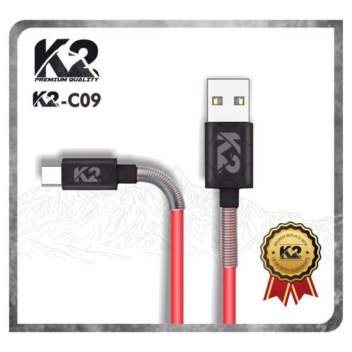 Foto Produk Kabel Data SPRING K2-C09 K2 PREMIUM QUALITY TYPE C Fast charging 2.4A - Merah dari K2 Official Store