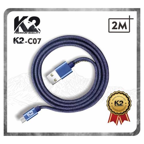 Foto Produk Kabel Data DENIM 2M K2-C07 K2 PREMIUM QUALITY MICRO USB Fast Charging - Biru dari K2 Official Store