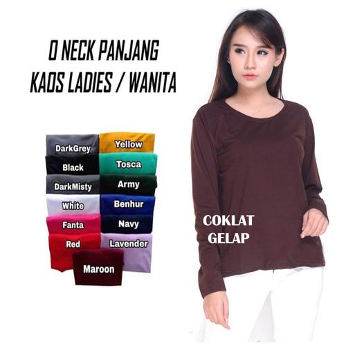Foto Produk KAOS T-SHIRT POLOS COMBED 28S CEWEK LADIES LONGSLEEVE LENGAN PANJANG - LS CEWEK COKLAT, L dari IndoJerseyMurah_Official