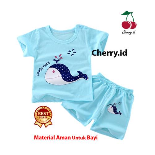 Foto Produk Setelan Baju Bayi Import Pakaian Baju Laki Laki - Biru Lumba, 0-6 Bulan dari CherryId18
