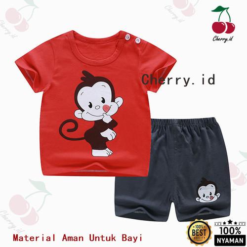 Foto Produk Setelan Baju Bayi Import Pakaian Baju Laki Laki - Merah Monkey, 0-6 Bulan dari CherryId18