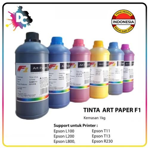 Foto Produk TINTA ART PAPER F1 INK ORIGINAL UKURAN 1 KG - WARNA CMYK LC LM - Hitam dari Dunia Cetak