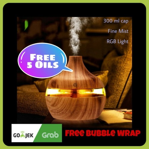Foto Produk Air Humidifier Ultrasonic Wood Design 300ml - Coklat Tua dari ZigZag-Store