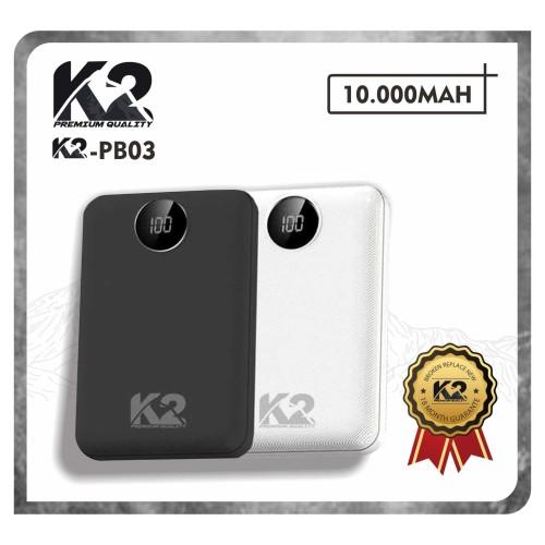 Foto Produk [GROSIR] Powerbank K2-PB03 LED DIGITAL 10000MAH K2 PREMIUM QUALITY 2A - Putih dari K2 Official Store