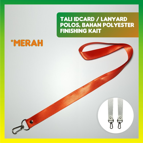 Foto Produk TALI IDCARD / LANYARD POLOS, BAHAN POLYESTER + KAIT - Merah dari jogjacardcom
