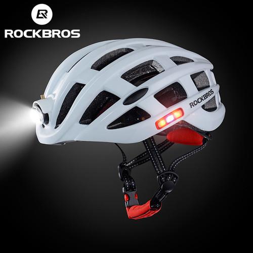 Foto Produk Helm Sepeda Rockbros Sepeda Lipat MTB Road Bike Plus Lampu Charge - Putih dari Rockbros Bike