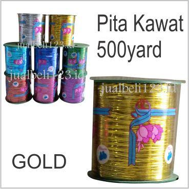 Foto Produk Kawat Pita Souvenir Metalik gulungan Besar - Emas dari JASA SABLON BORDIR