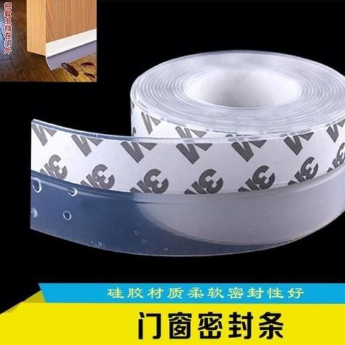 Foto Produk Seal Tape karet Penutup Lubang Celah Bawah Pintu dan Jendela antiKecoa - 2.5 cm, Transparan dari DM_703shop