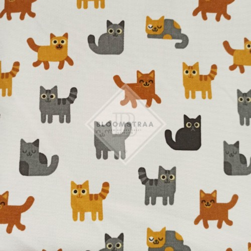 Foto Produk Kain Kanvas Kucing Putih bahan canvas meteran motif white cat fabric dari Bloomstraa