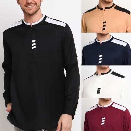 Foto Produk WASIM MOSCREPE Baju Koko Kemeja Kurta Pakistan fashion Muslim Pria - Cokelat, XL dari kayser official