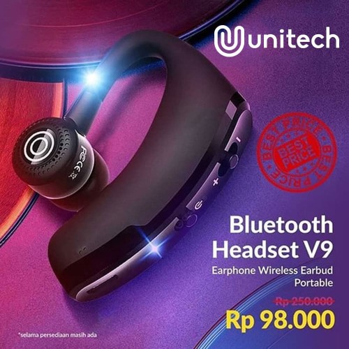 Foto Produk Unique Bluetooth Headset V9 Earphone Wireless FREE Handsfree+Hardcase - Hitam dari Unitech Official