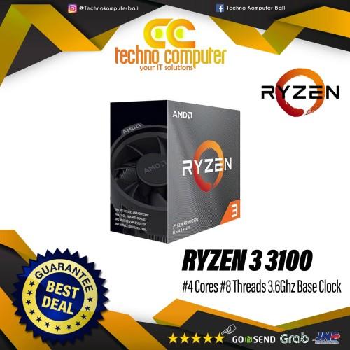 Foto Produk Prosesor AMD Ryzen 3 3100 4core 8threads 3.6Ghz dari Techno Computer Bali