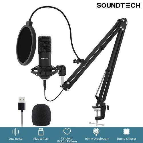 Foto Produk SOUNDTECH USB Microphone Mic Condenser Recording Streaming Podcast PC dari BudgetDigital