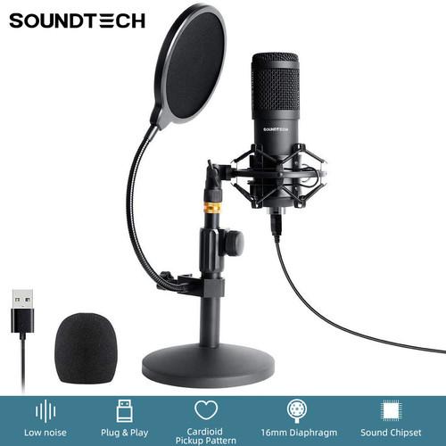 Foto Produk SOUNDTECH USB Microphone Condenser Stand Table Recording Streaming PC dari BudgetDigital