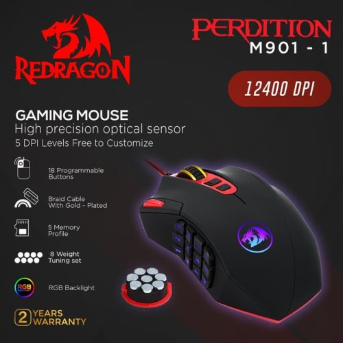 Foto Produk Redragon M901 Perdition 24000DPI MMO Mouse LED RGB Wired Gaming Mouse dari manekistore