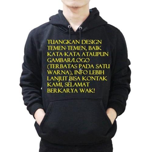 Foto Produk jaket hoodie CUSTOM design gambar tulisan sendiri, BISA SATUAN gaspol - Hitam, L dari kampax merch.