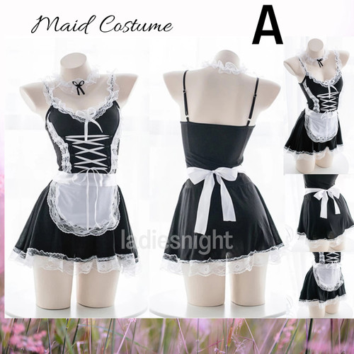 Foto Produk Black-White Ichika Maid Sexy Lingerie Costume (Pelayan) -Bandana +Acc - Model A dari Ladies Night