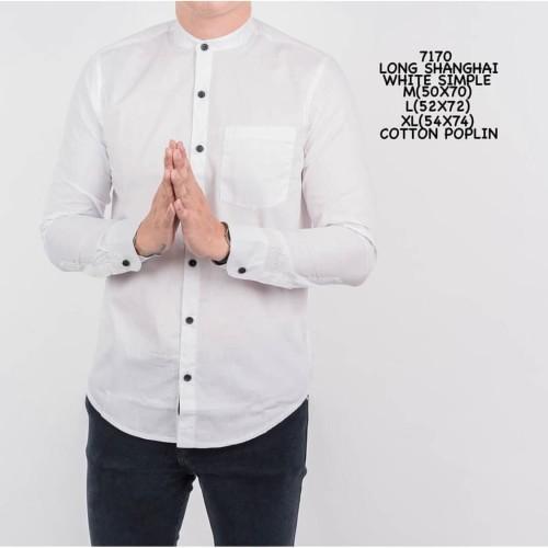 Foto Produk Kemeja Putih Panjang Pria Polos Katun Slimfit Murah - M dari ALJOSA
