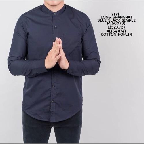 Foto Produk Kemeja Polos Cowok Lengan Panjang Slimfit | Baju Pria Grandad Navy - L dari ALJOSA