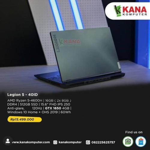 Foto Produk Lenovo Legion 5 -40ID (Black) AMD Ryzen 5+SSD 512GB +Windows 10 dari kanakomputer