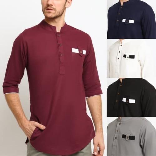 Foto Produk HAZWAN LINEN RAMI Baju Koko Kemeja Kurta Pakistan Fashion Muslim Pria - Putih, M dari kayser official