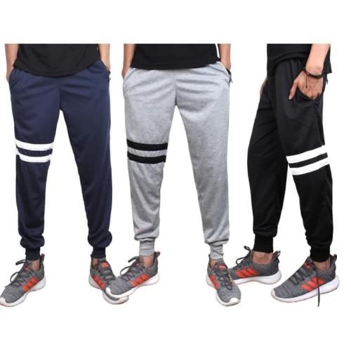 Foto Produk STRIPE 2 Celana Training panjang jogger joger baby terry stripe strip - Hitam dari kayser official