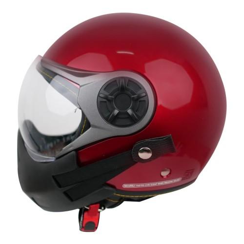 Foto Produk Paket Helm Cargloss YRM Visor Hardcoat Half Face - Deep Red + Masker - XL dari Helm Cargloss
