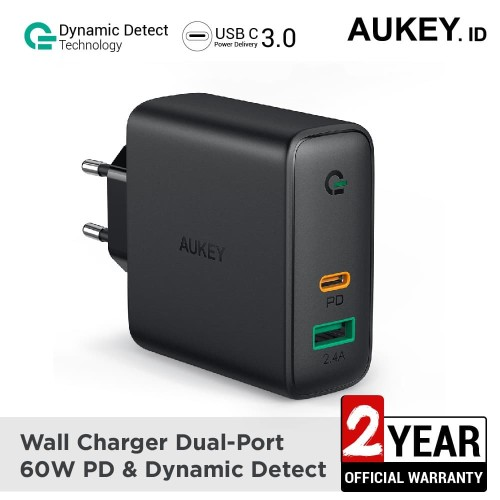 Foto Produk Aukey Charger Dual-Port 60W PD with Dynamic Detect - 500394 dari AUKEY