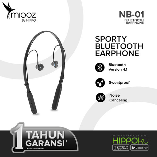 Foto Produk Hippo Miooz NB-01 Sporty Stereo Bluetooth Earphone - Hitam dari iLo Official Store