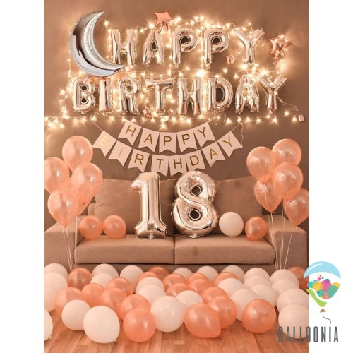 Foto Produk Exclusive Foil Balloon LED Happy Birthday SET Pink / Paket Ulang Tahun dari Balloonia