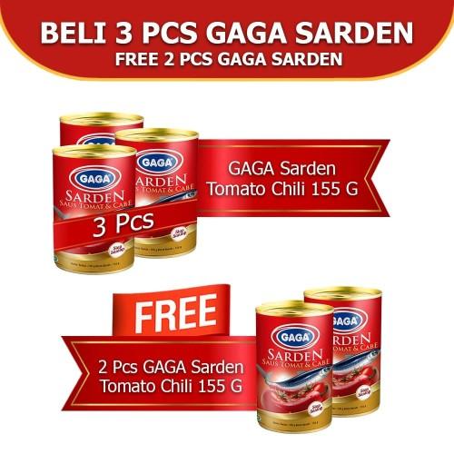 Foto Produk GAGA Sarden Tomat & Cabe 155g. Beli 3pcs FREE 2pcs (kode 46) dari Gaga Official Store