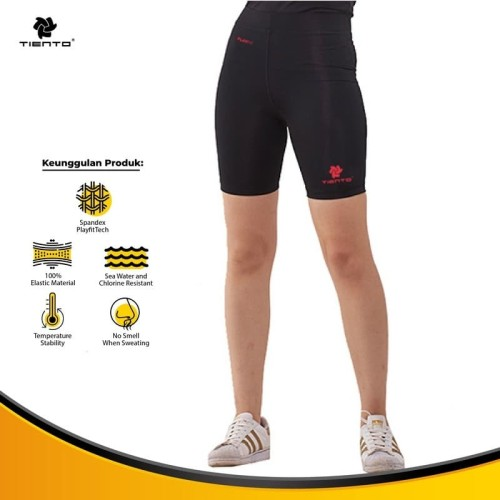 Foto Produk Tiento Celana Legging Sport Wanita Leging Short Pants Women Black Red - S dari TIENTO