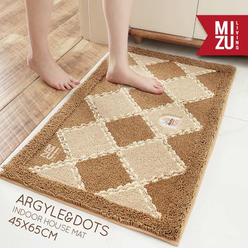 Foto Produk ARGYLE&DOTS Indoor House Mat Keset Bulu Rumah Kamar Anti-Slip 45X65cm - BROWN ARGYLE dari MIZU Living
