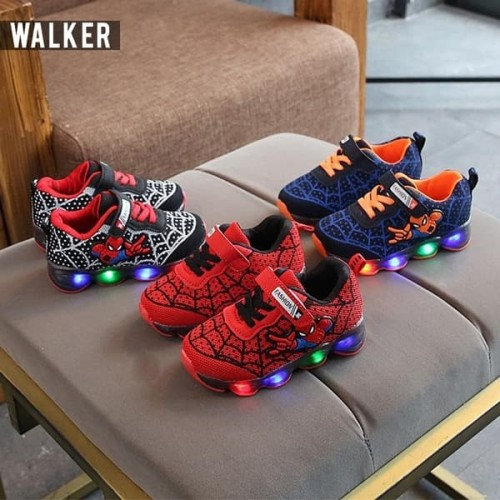 Foto Produk LKM168 Sepatu Sport Spiderman Anak Laki-Laki Casual Bayi Lampu LED - Hitam, 21 dari LittleKuma_Jkt