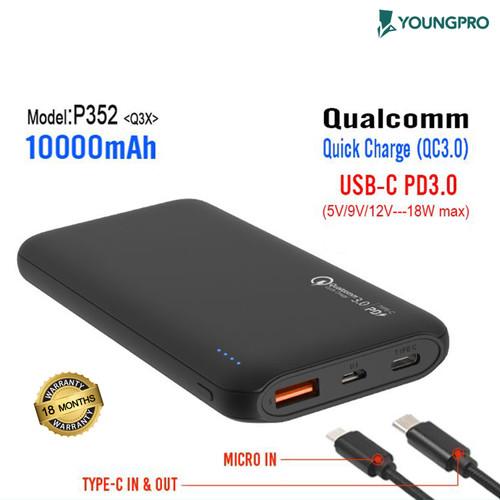 Foto Produk Youngpro YPQ-3X - Powerbank 10000mAh Qualcomm 3.0 Fast Charging - Hitam dari YOUNGPRO INDONESIA