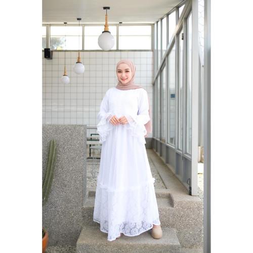Foto Produk Gamis Wanita Muslim   Aluna Dress   Full Lace Flower Lapis Moscrepe - White dari Terminalgrosir Indonesia