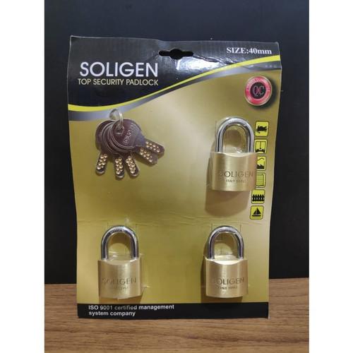 Foto Produk Gembok Master Key SOLIGEN 3 pcs Kuningan 40 50 60 mm Komputer Padlock - 40 mm dari Terminal Tool & Hardware