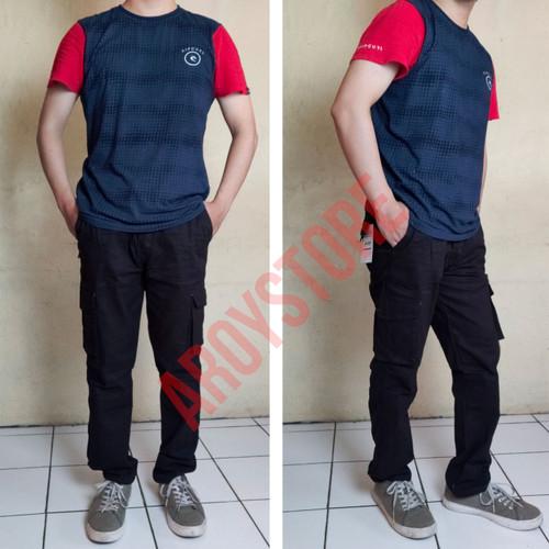 Foto Produk Celana Panjang Cargo Pinggang Karet | BIG SIZE - Hitam, 34 dari aroystore