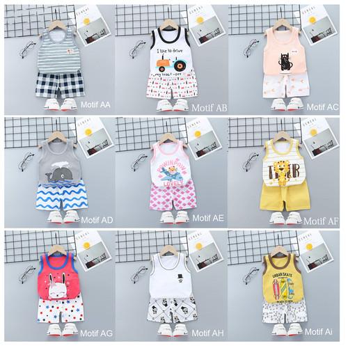Foto Produk Kaos Singlet Bayi Anak / Setelan Baju Bayi / Baju Kutung Bayi - MOTIF AE dari M&K ( Mom & Kids)